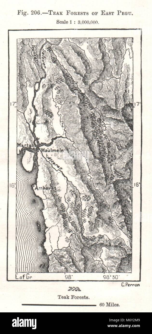 Sketch Map 1885 Old Antique Vintage Plan Chart Ramree And Cheduba Burma