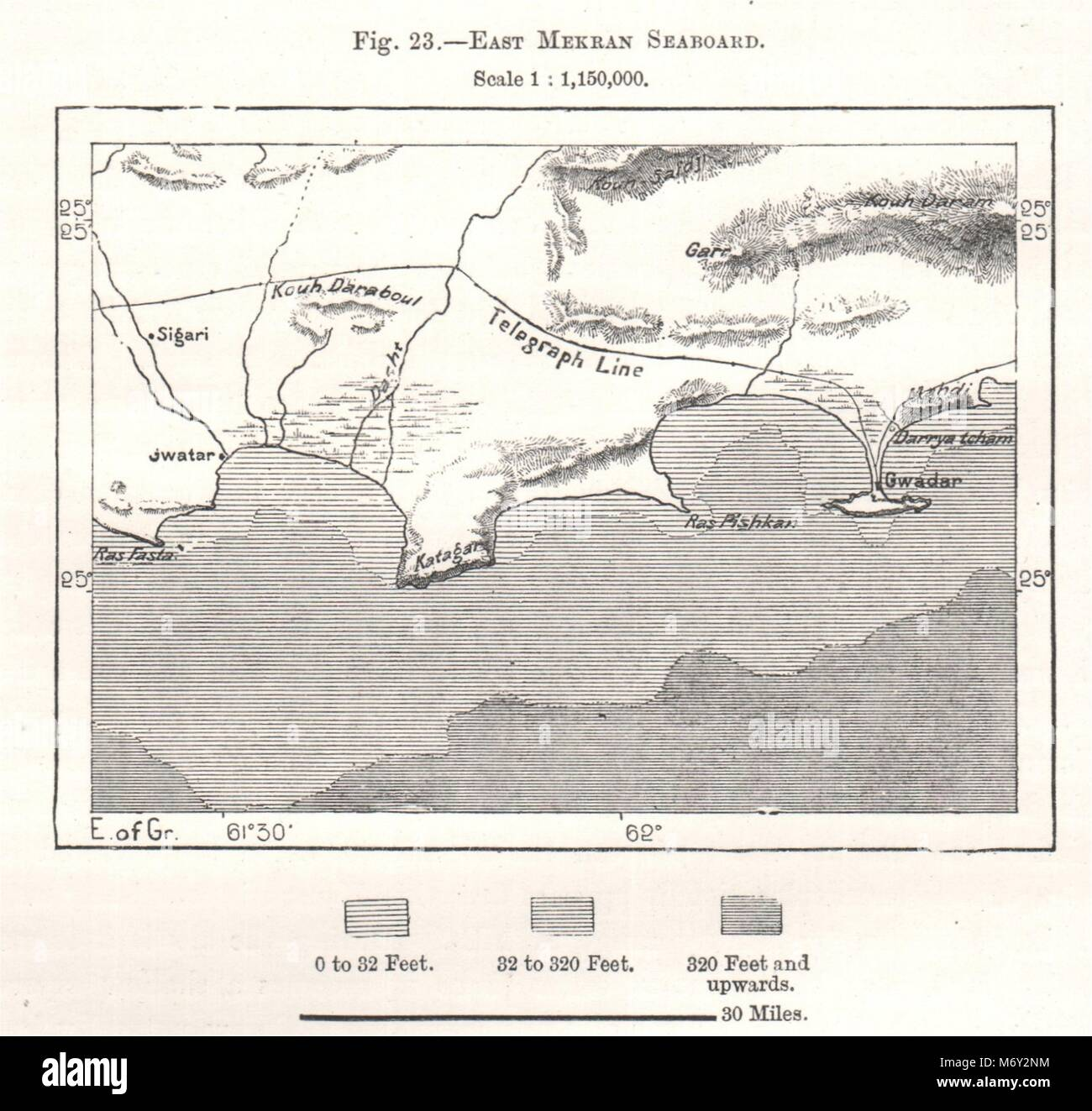 East Makran Seaboard. Gwadar. Pakistan. Sketch map 1885 old antique chart - Stock Image
