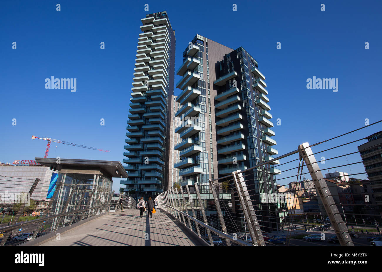 "MILAN, ITALY MARCH 28, 2017 - View of Solaria, Solea and Aria Towers, inside ""Porta Nuova"" Area in Milan, near Garibaldi Stock Photo"