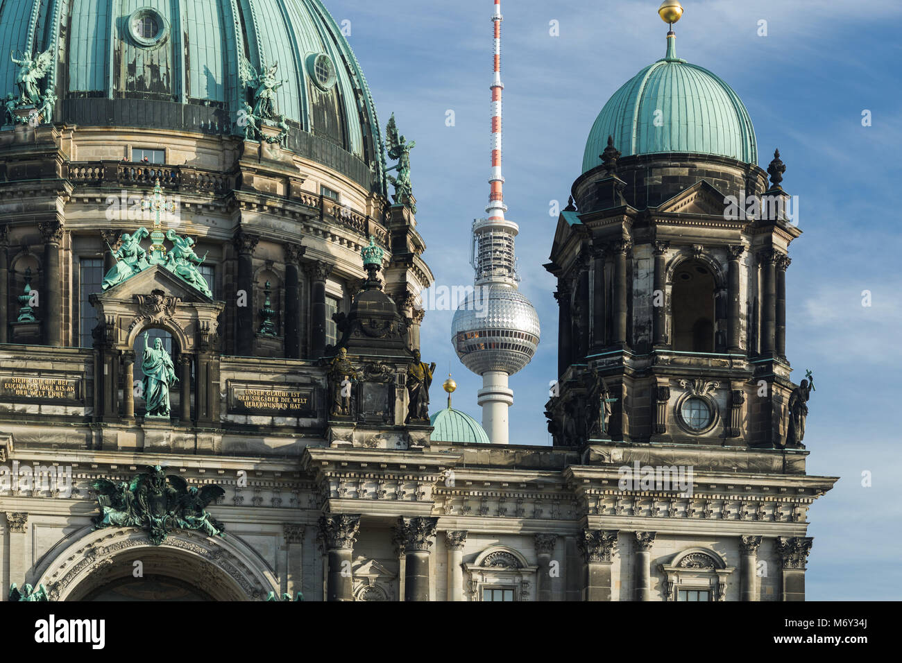 The Berliner Dom and Fernsehturm (TV Tower), Mitte, Berlin, Germany - Stock Image