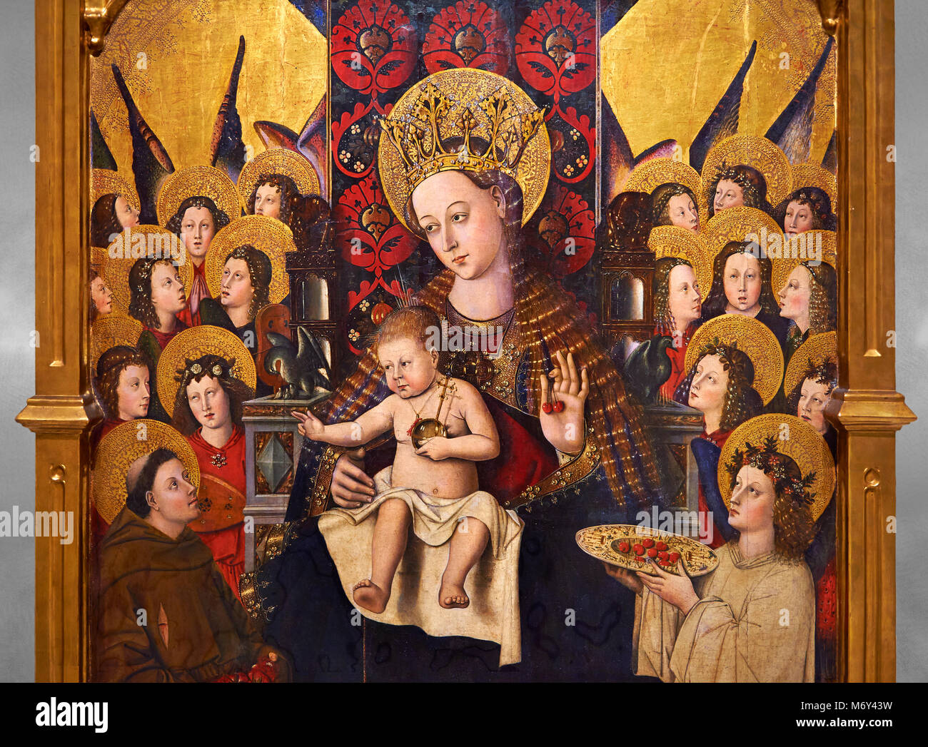 Virgin Mary; Mother of God; The Virgin; Mare de deu; Gothic altarpiece of Madonna and Child by Joan Reixach of Barcelona, - Stock Image