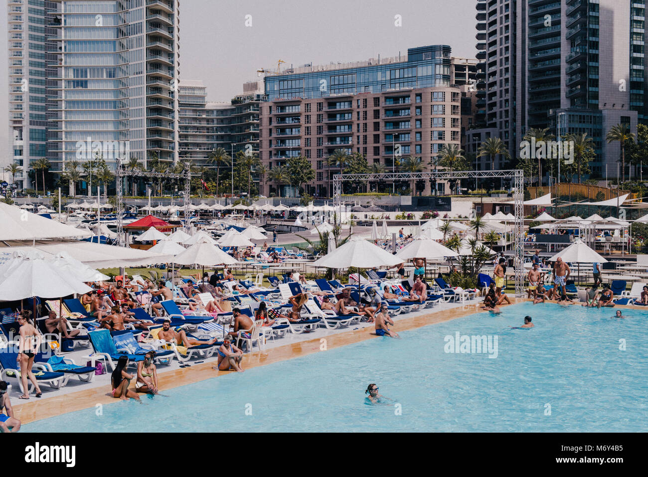 May 14th 2016. St. George's private members club, along the corniche in Beirut, Lebanon. - Stock Image