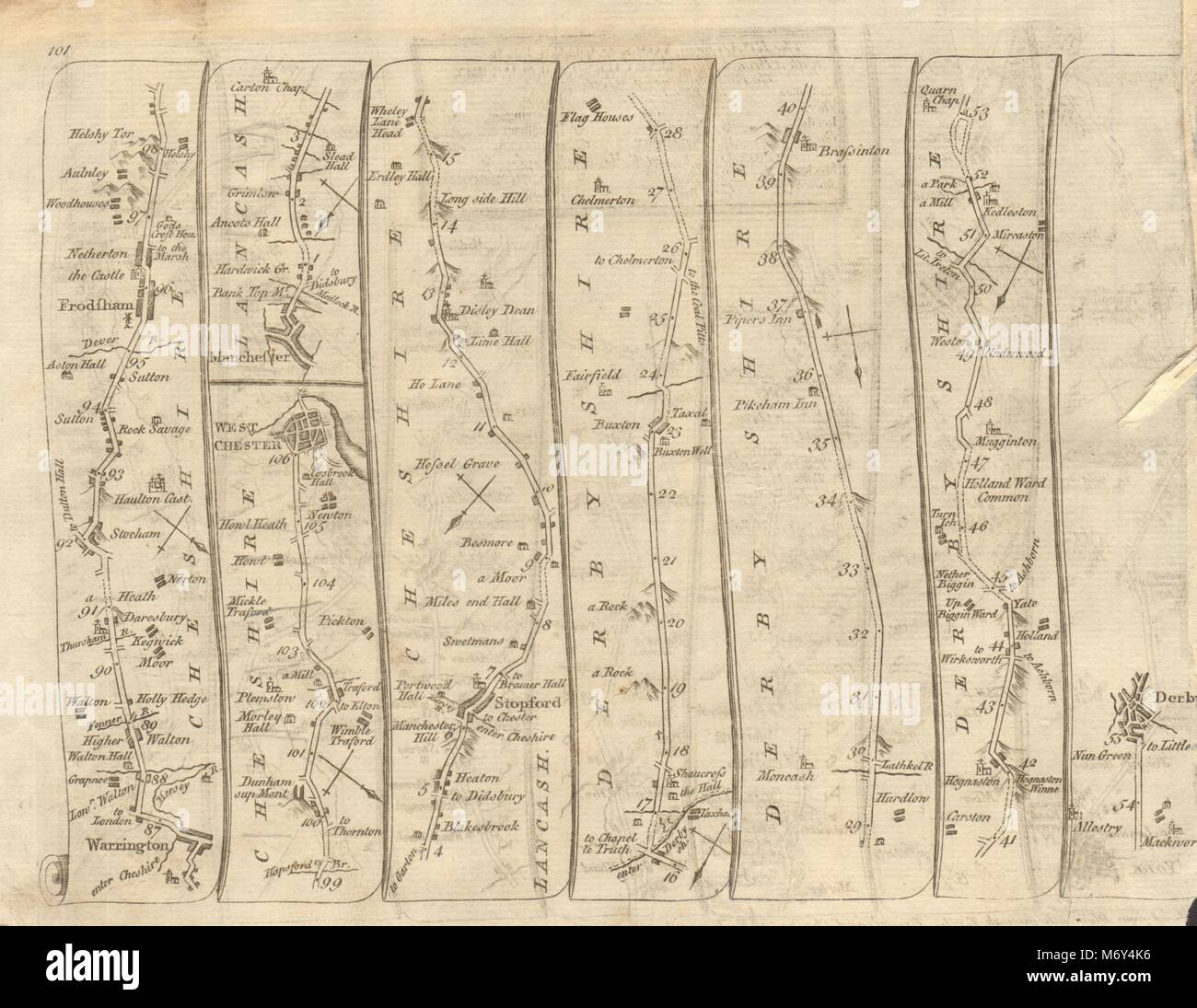 Warrington Chester Manchester Stockport Buxton Derby. KITCHIN road map 1767 - Stock Image