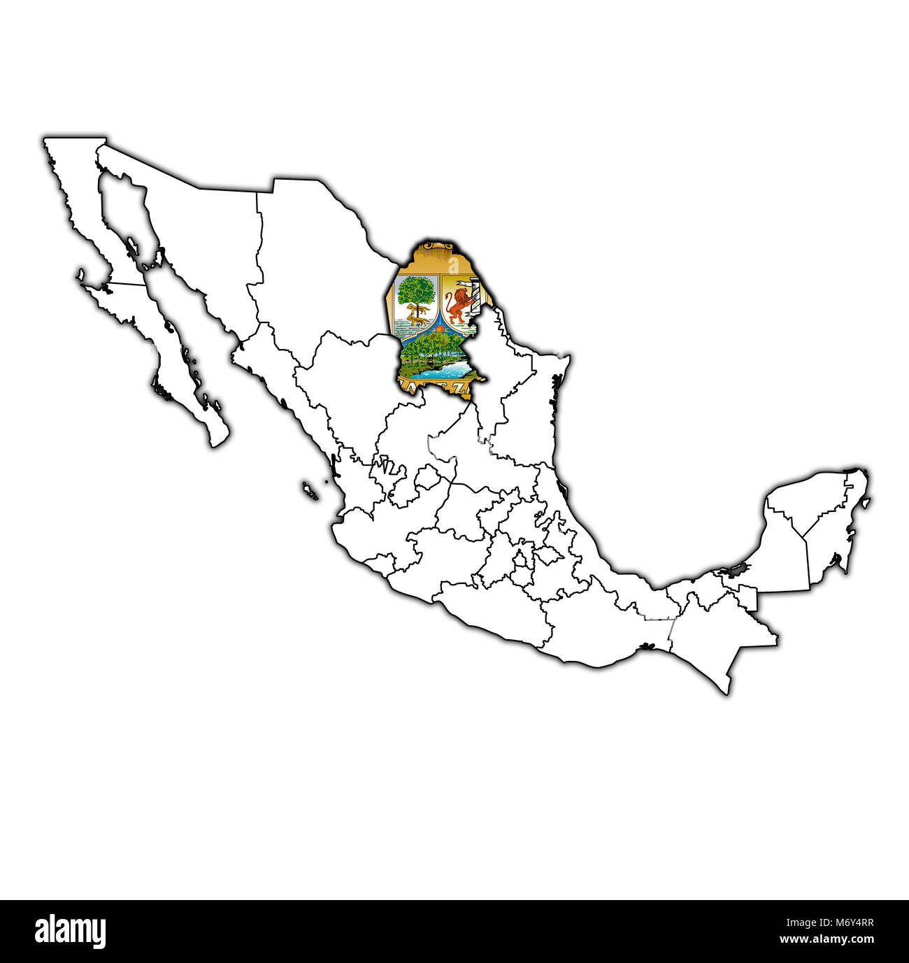 emblem of Coahuila state on map with administrative divisions and borders of Mexico - Stock Image