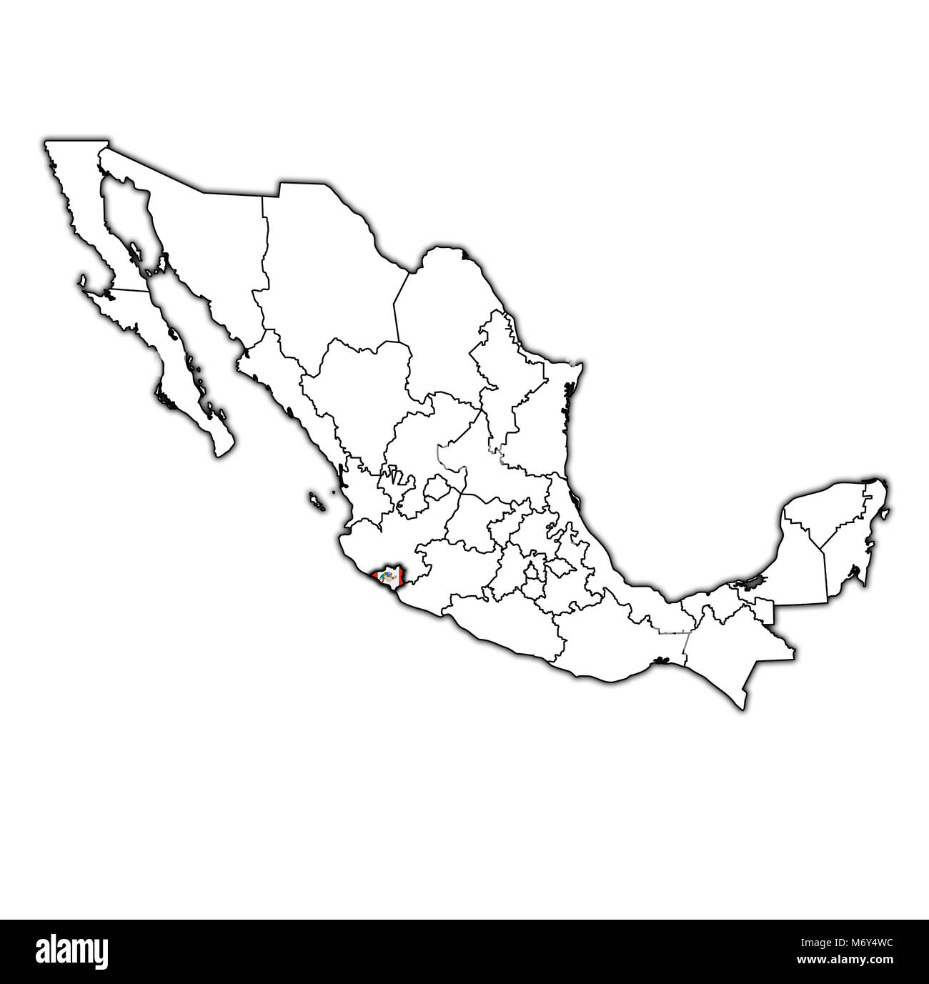 emblem of colima state on map with administrative divisions and borders of Mexico - Stock Image