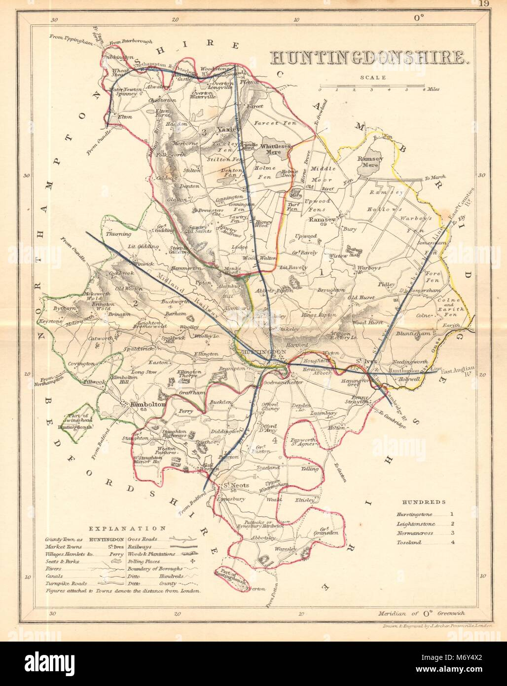 Beautiful Hertfordshire County Map By Archer & Dugdale Art Seats Canals Polling Places 1845
