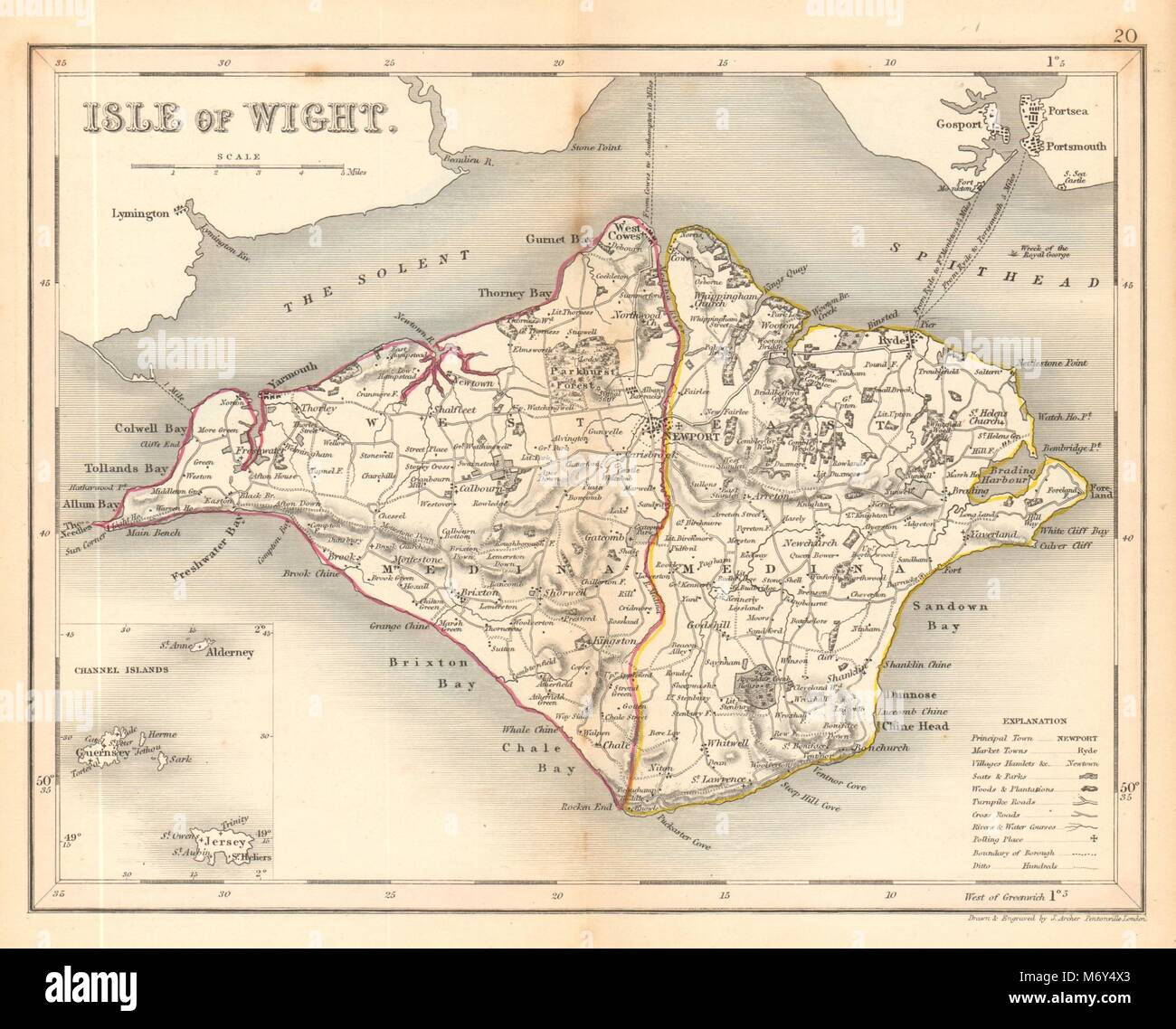 ISLE OF WIGHT map by ARCHER & DUGDALE. Seats polling places 1845 old Stock Photo
