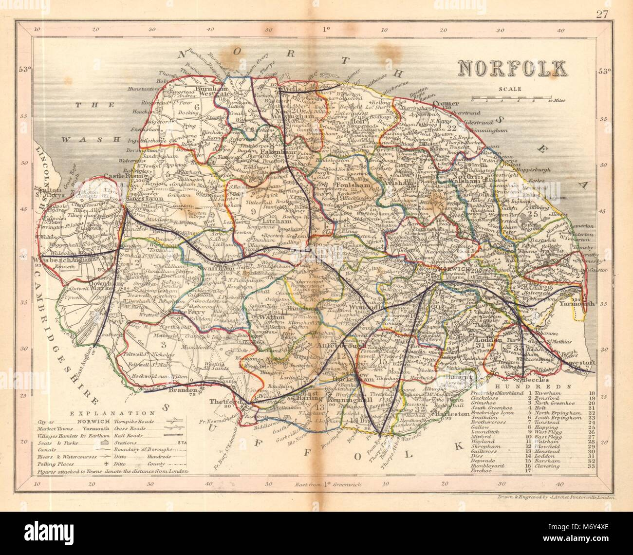 Antiques Lincolnshire Map By Archer & Dugdale Seats Canals Polling Places 1845 Old