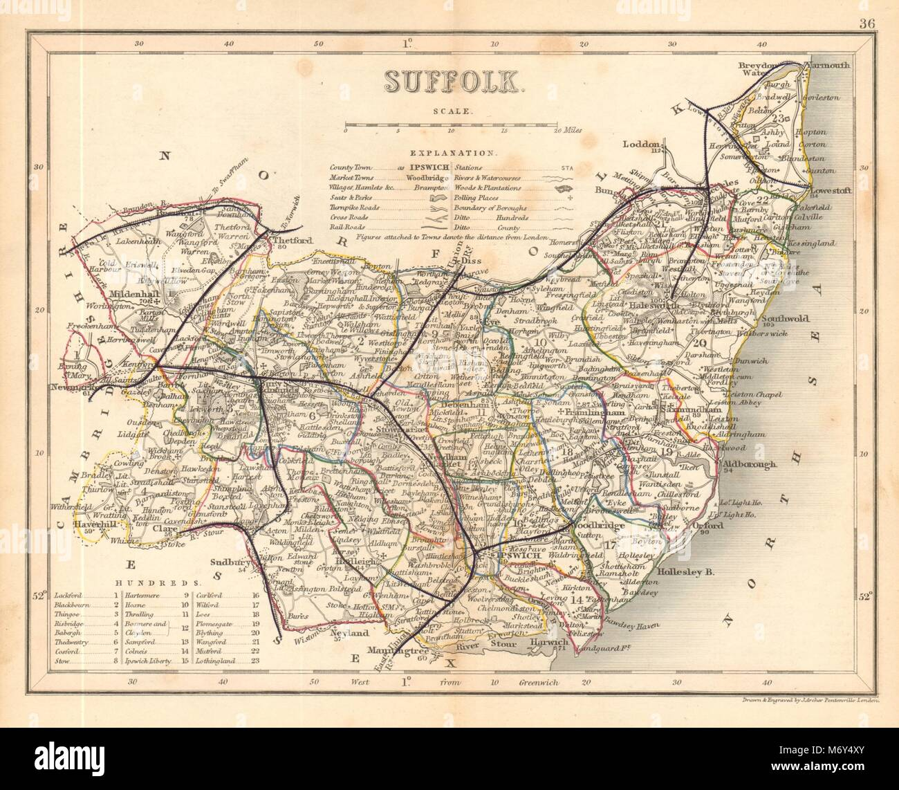 SUFFOLK county map by ARCHER & DUGDALE. Seats polling places 1845 old Stock Photo