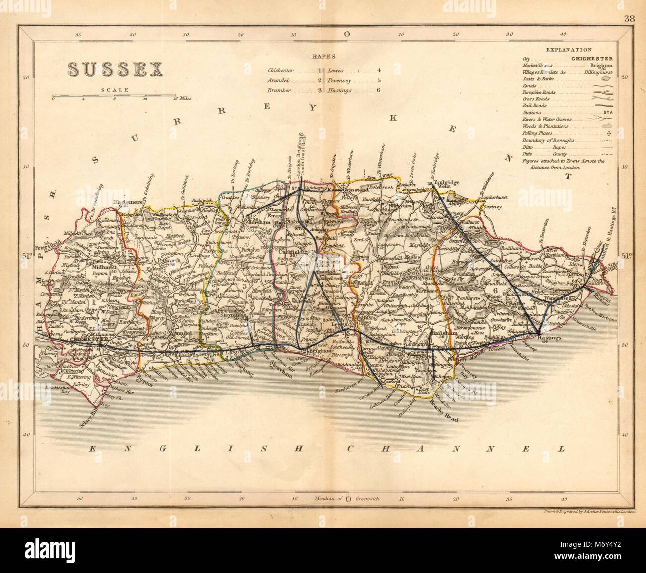 Sussex England Map Stock Photos Sussex England Map Stock Images