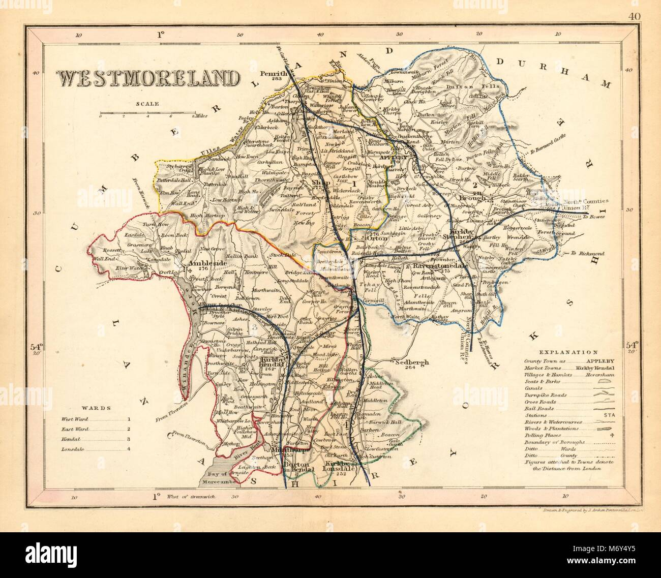 WESTMORELAND county map by ARCHER & DUGDALE  Lake District