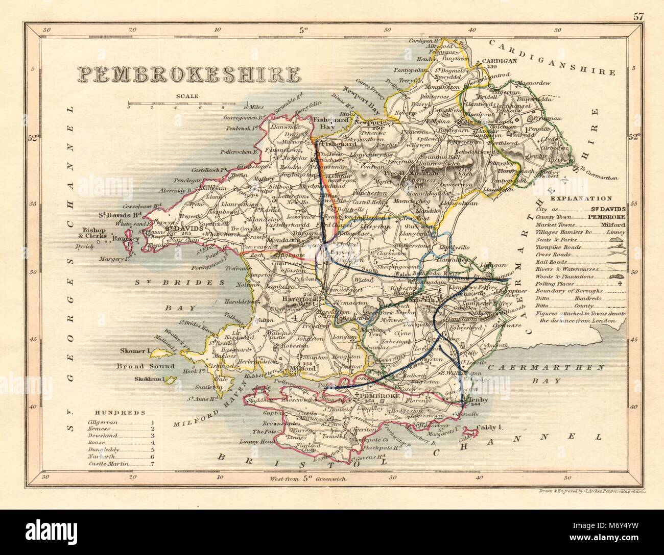 Humorous Merionethshire County Map By Archer & Dugdale Maps, Atlases & Globes Seats Canals Polling Places 1845