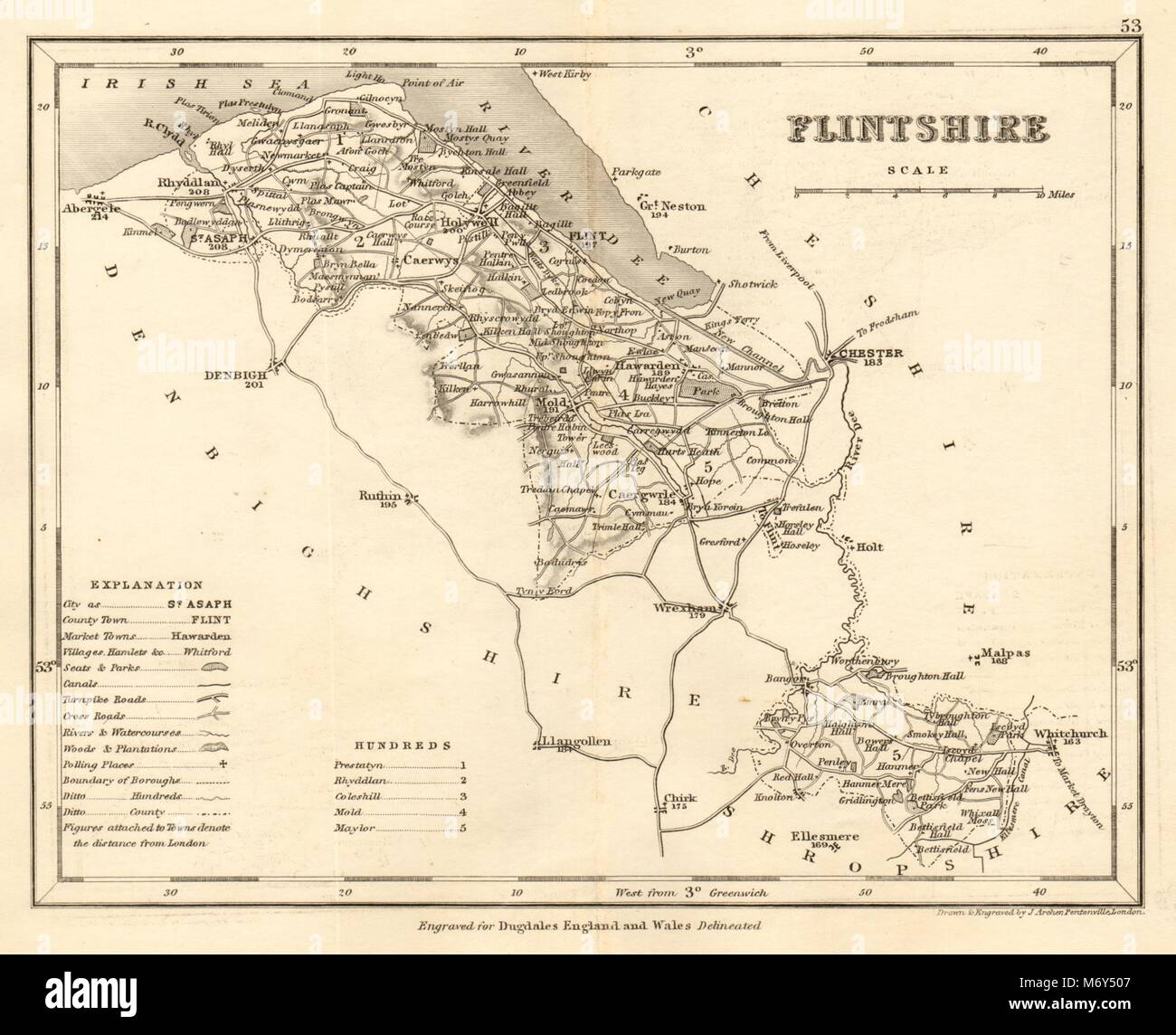Buy Cheap Middlesex Map By Archer & Dugdale Europe Maps Seats Canals Polling Places C1845 Old