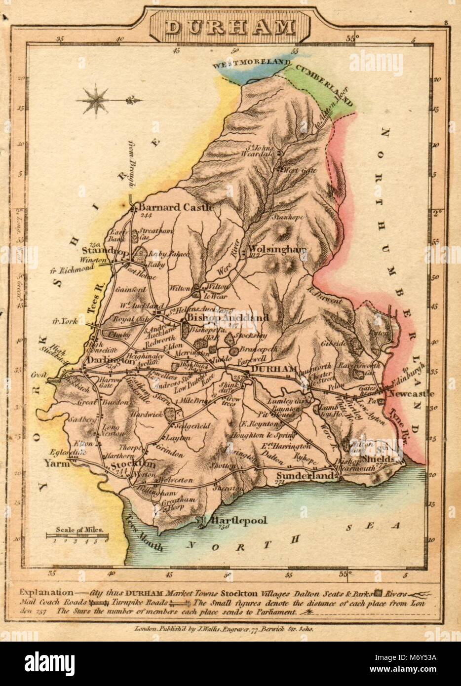 Antique map of County Durham by James Wallis. Hand coloured 1810 old Stock Photo