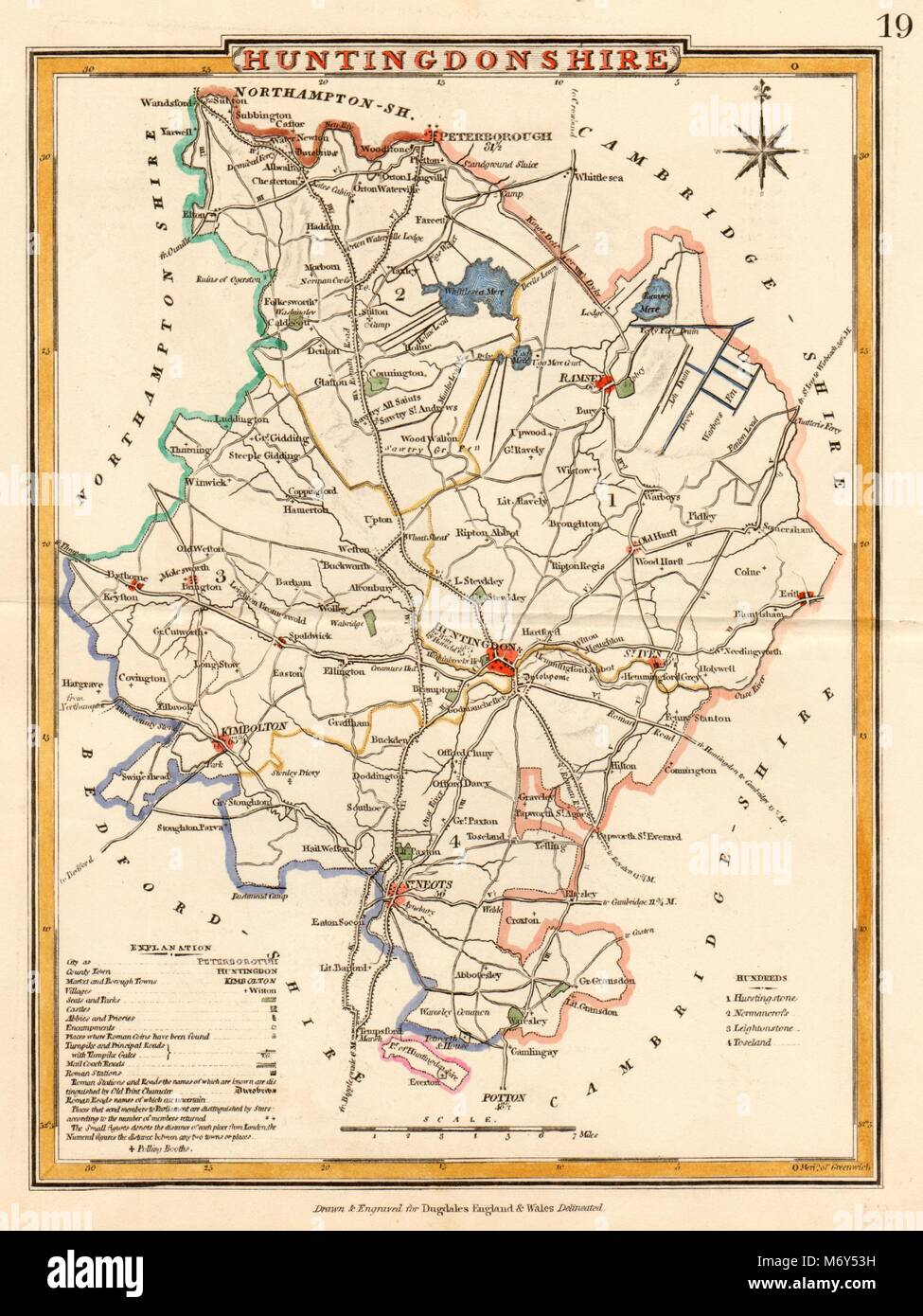 Helpful Antique County Map Of Huntingdonshire By John Cary Antiques Kimbolton St Neots 1793