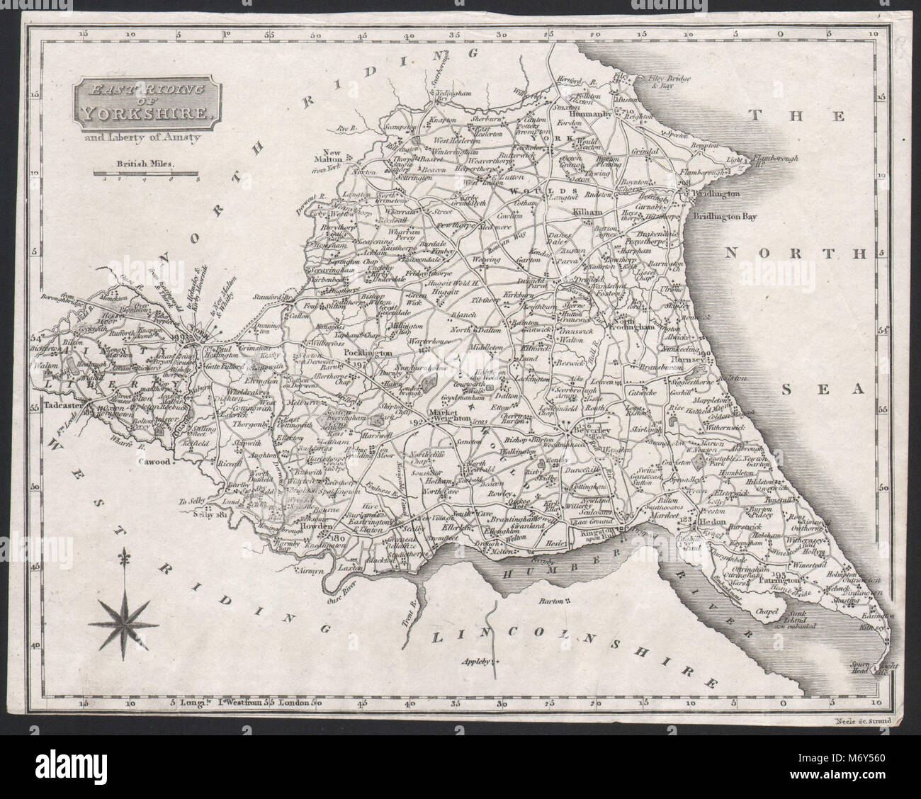 East Riding of Yorkshire and Liberty of Ainsty. Trimmed. NEELE c1818 old map - Stock Image