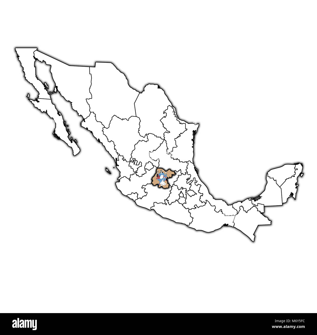emblem of guanajuato state on map with administrative divisions and borders of Mexico - Stock Image