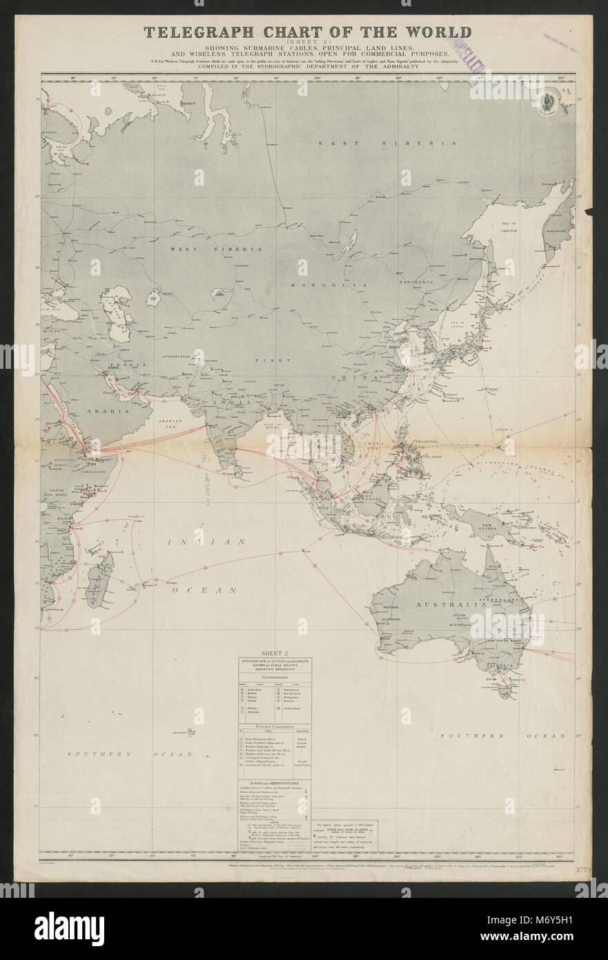 Submarine telegraph cables stock photos submarine telegraph cables asia telegraph cable routes undersea overland admiralty sea chart 1922 map stock image publicscrutiny Images