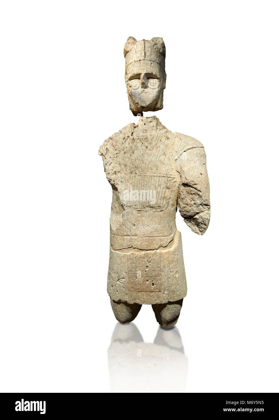 9th century BC Giants of Mont'e Prama  Nuragic stone statue of an archer, Mont'e Prama archaeological site, - Stock Image