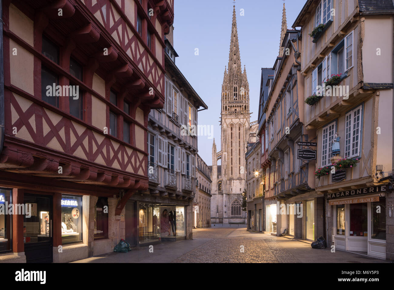Cathedrale Saint Corentin And Rue Kereon At Night In The Old Town, Quimper,  Finisterre