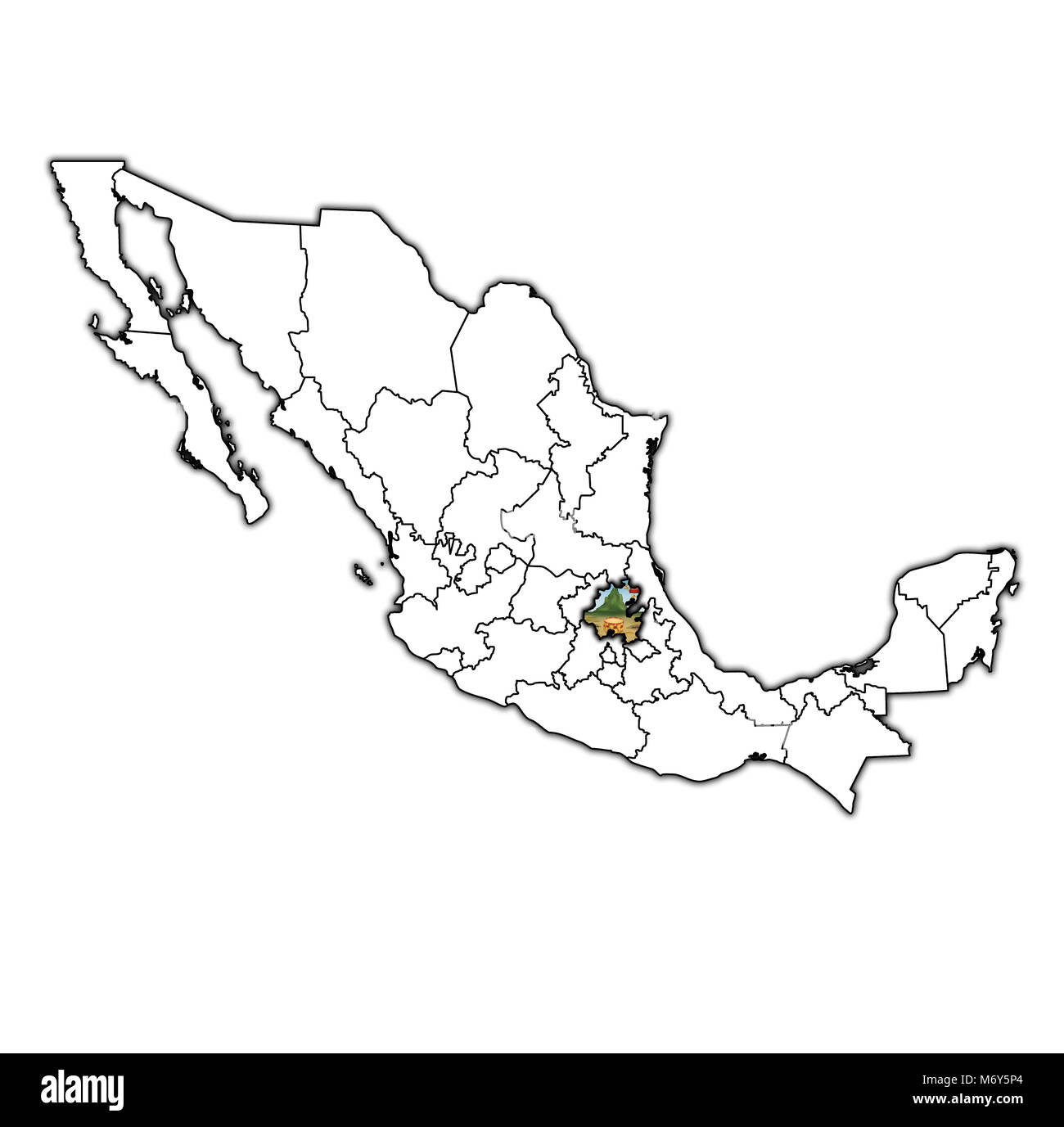 emblem of Hidalgo state on map with administrative divisions and borders of Mexico - Stock Image