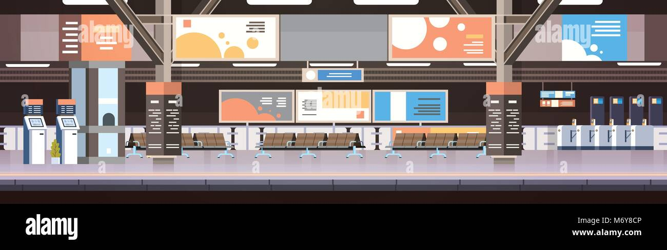 Train Subway Or Railway Station Interior Empty Platform With No Passengers Transport And Transportation Concept - Stock Vector