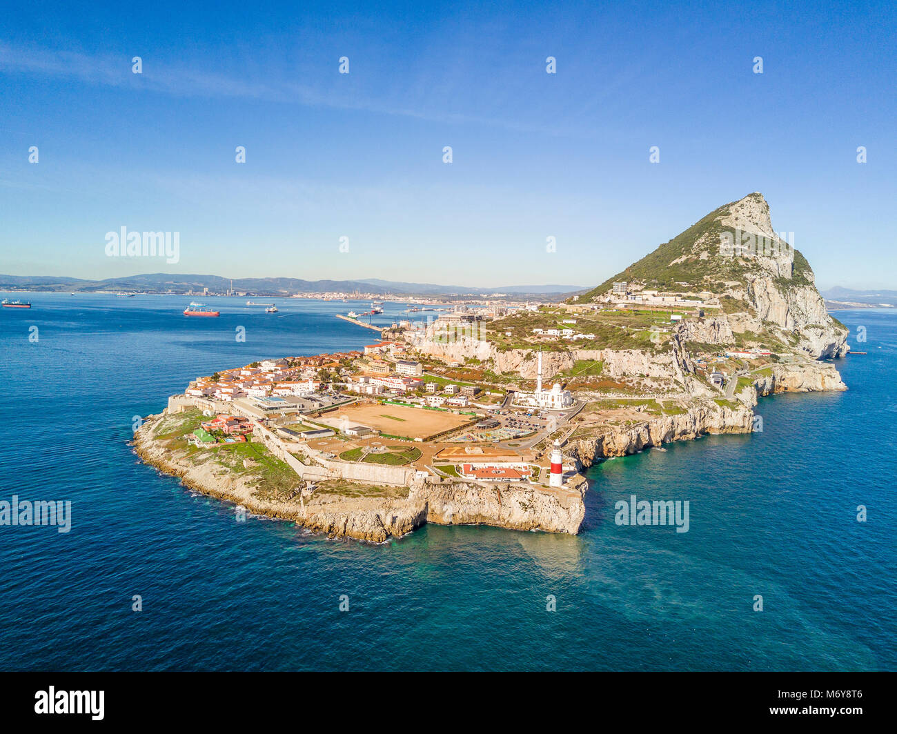 Famous Gibraltar rock on overseas british territory, Gibraltar, Iberian Peninsula, Europe - Stock Image