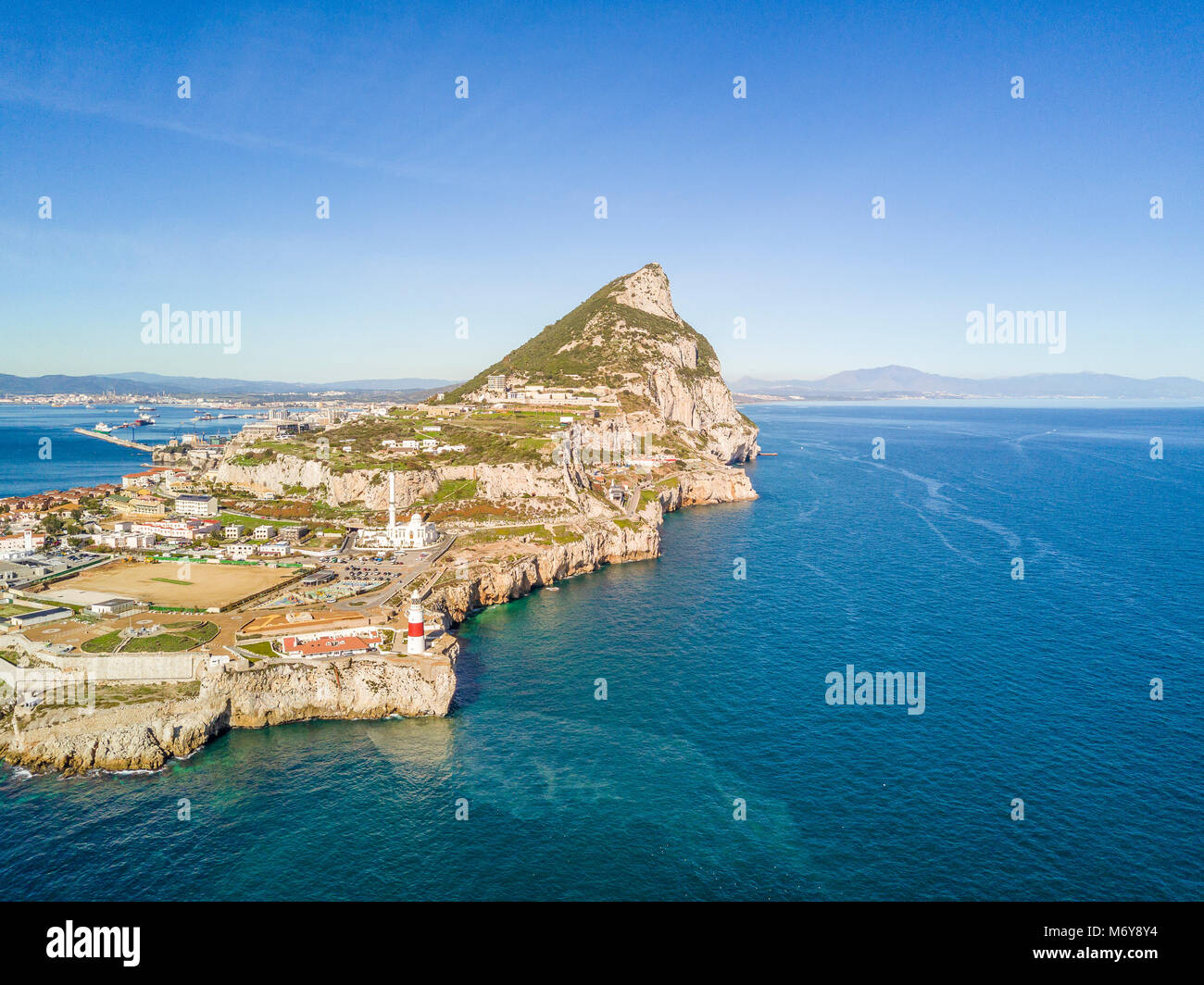 Famous Gibraltar rock on oversea British territory, Gibraltar, Iberian Peninsula, Europe - Stock Image