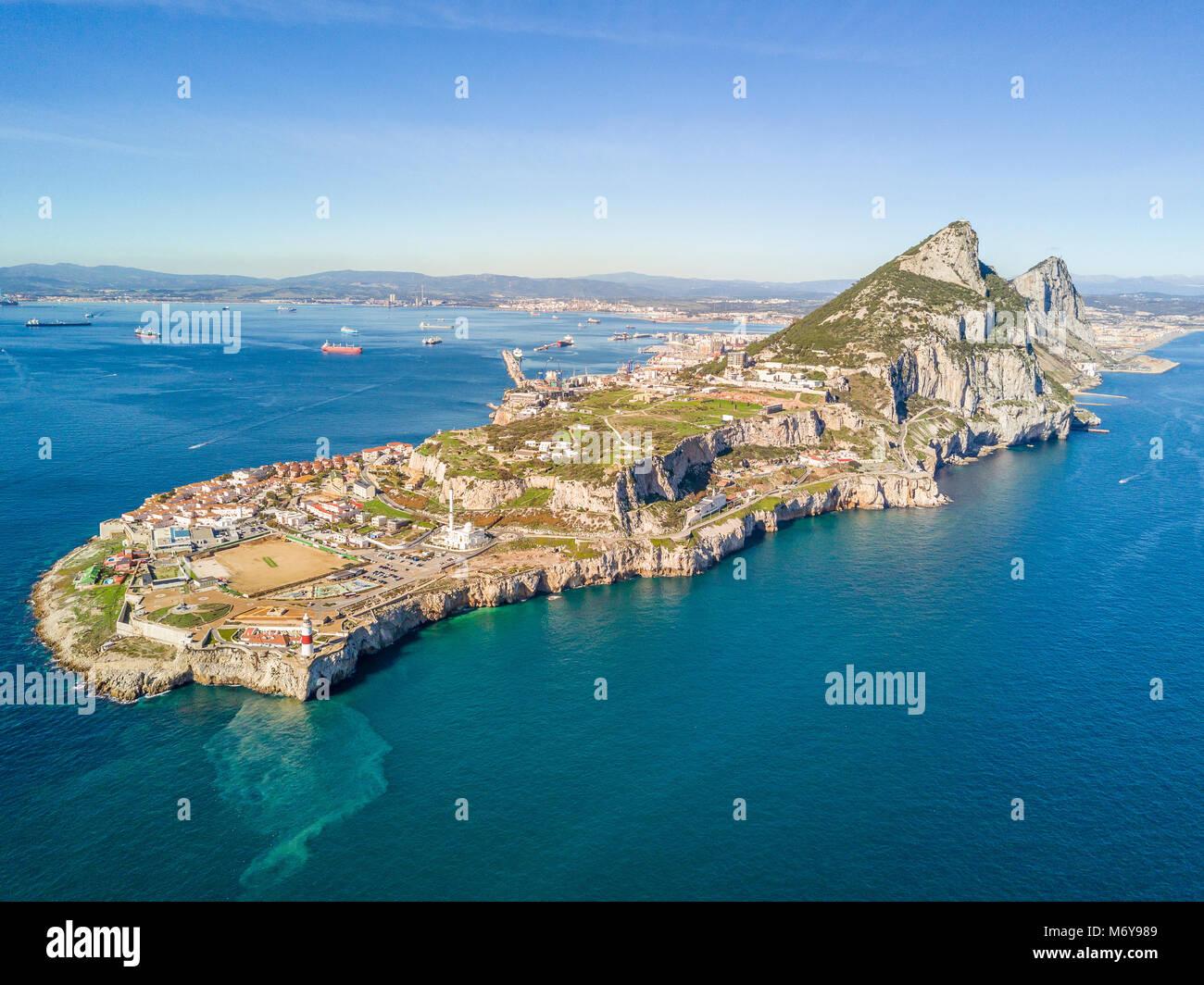 Famous Gibraltar rock on overseas british territory, Gibraltar, Iberian Peninsula, Europe - Stock Image