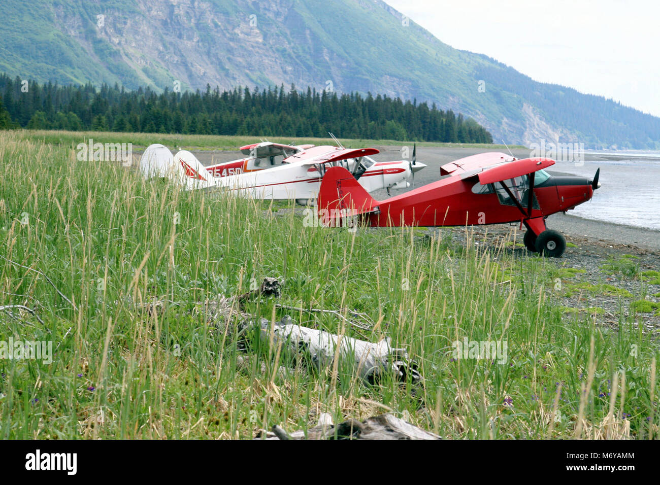Planes on the Beach   . Most visitors travel to Chinitna Bay in small bush planes. - Stock Image