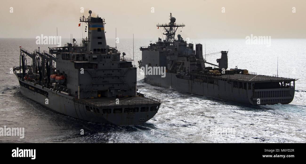 180303-N-JS726-0034 MEDITERRANEAN SEA (March 3, 2018) The Henry J. Kaiser-class fleet replenishment oiler USNS Patuxent Stock Photo