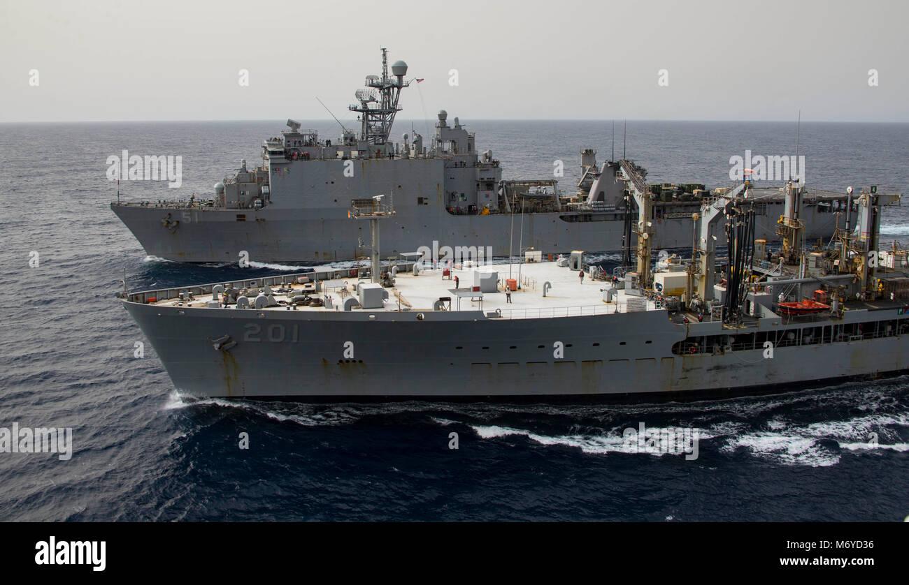 180303-N-JS726-0072 MEDITERRANEAN SEA (March 3, 2018) The Henry J. Kaiser-class fleet replenishment oiler USNS Patuxent Stock Photo