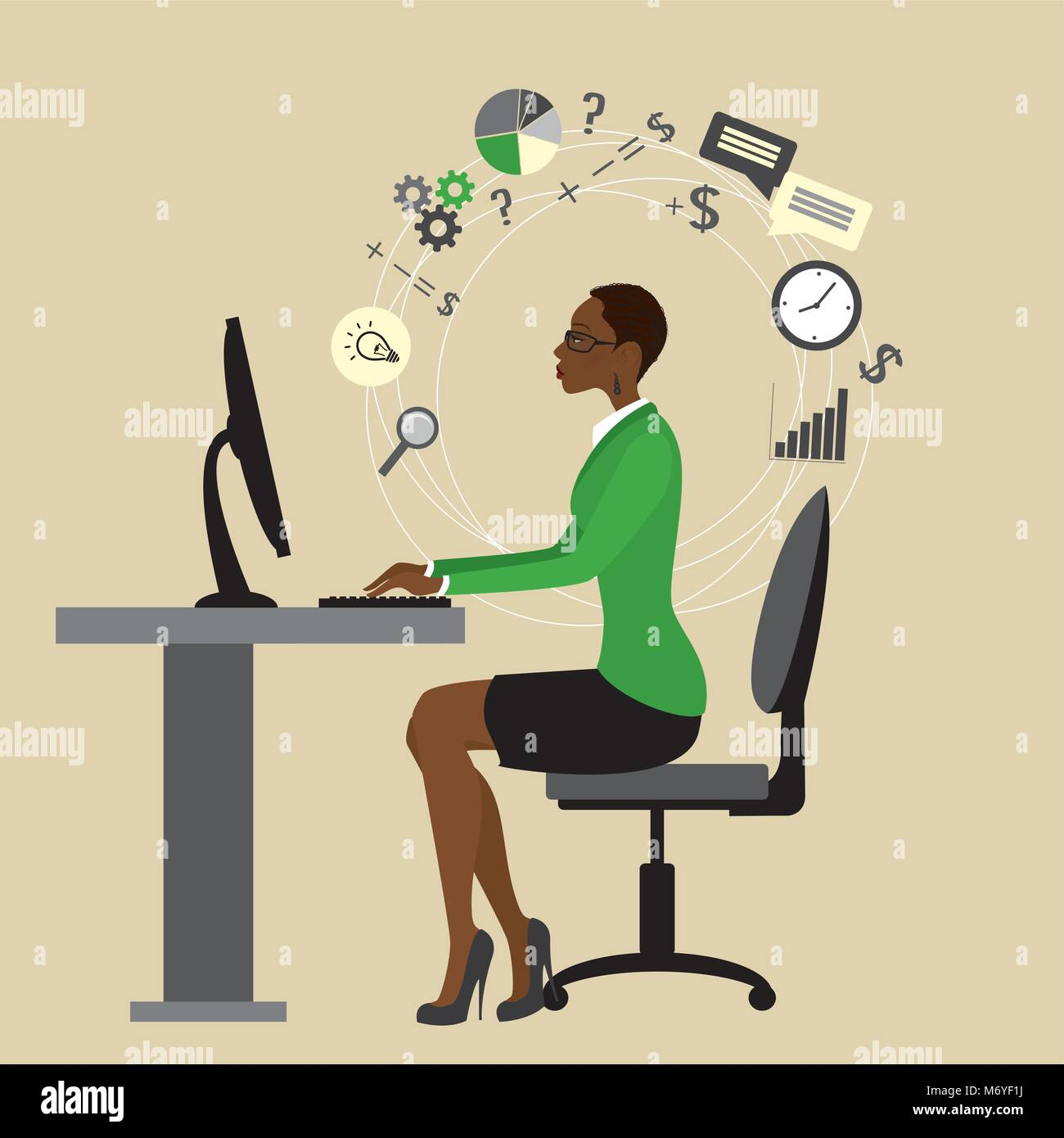 African american Business woman or office worker working at a computer, Internet communication,vector illustration - Stock Vector