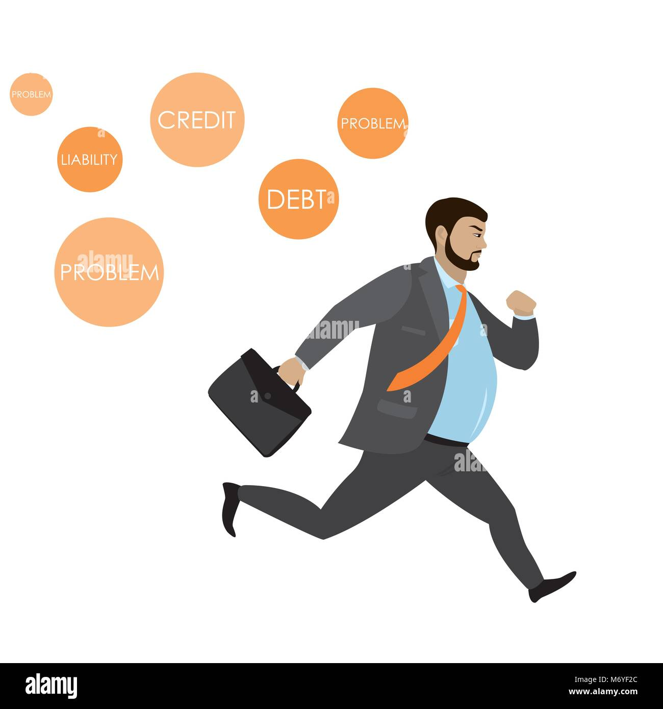 Fat Businessman running away from problems icons,isolated o white background,stock vector illustration Stock Vector
