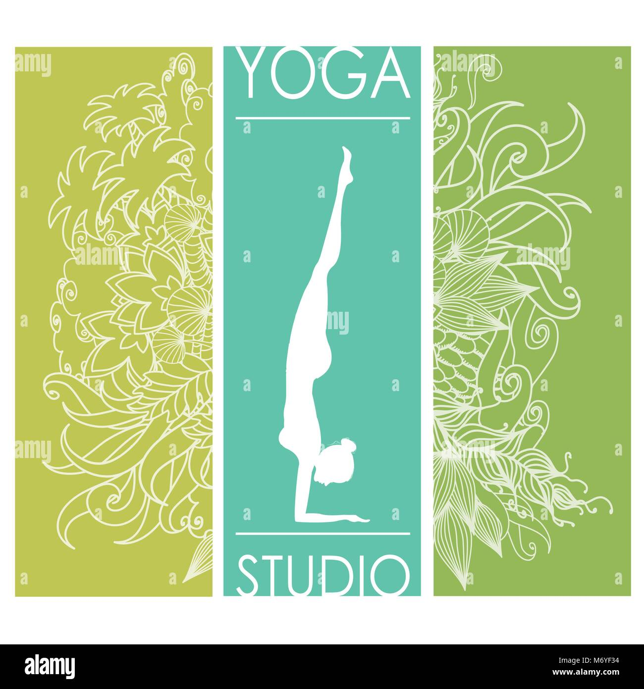 Design template for yoga studio business card,doodle floral Stock ...