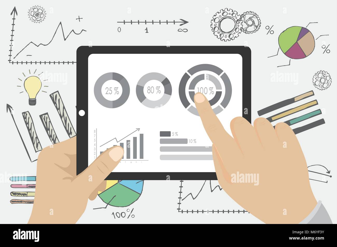 Businessman Hands Holding A Tablet With Financial Chart And