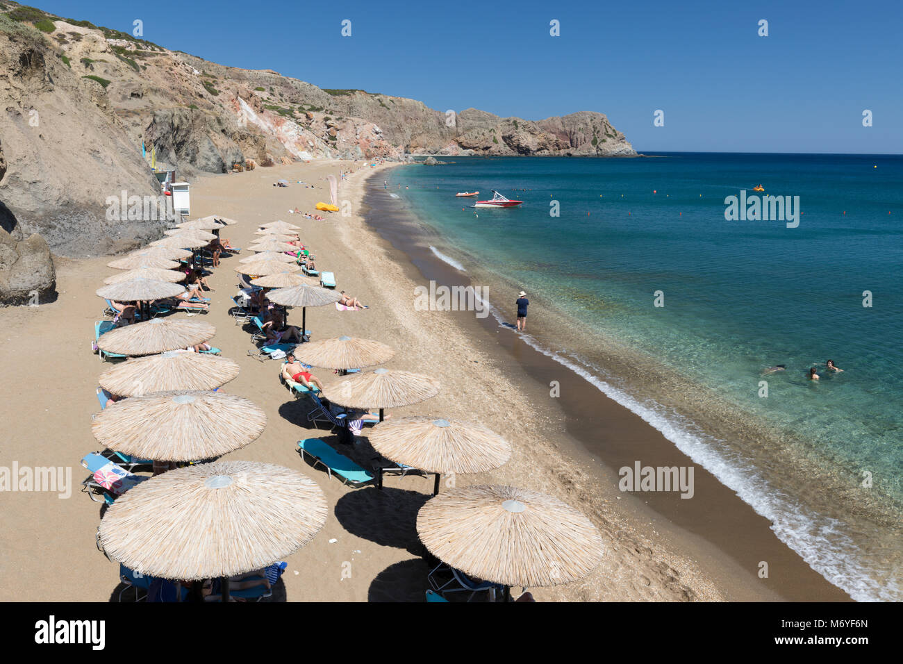 Paliochori Beach On South East Coast Milos Cyclades Aegean Sea