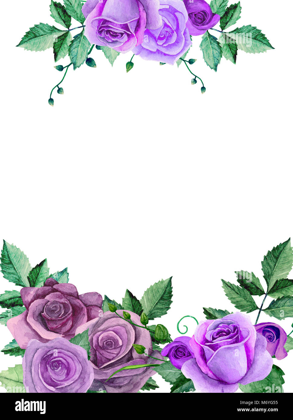 Watercolor roses purple flowers bouquet greeting card design stock purple flowers bouquet greeting card design template izmirmasajfo Images