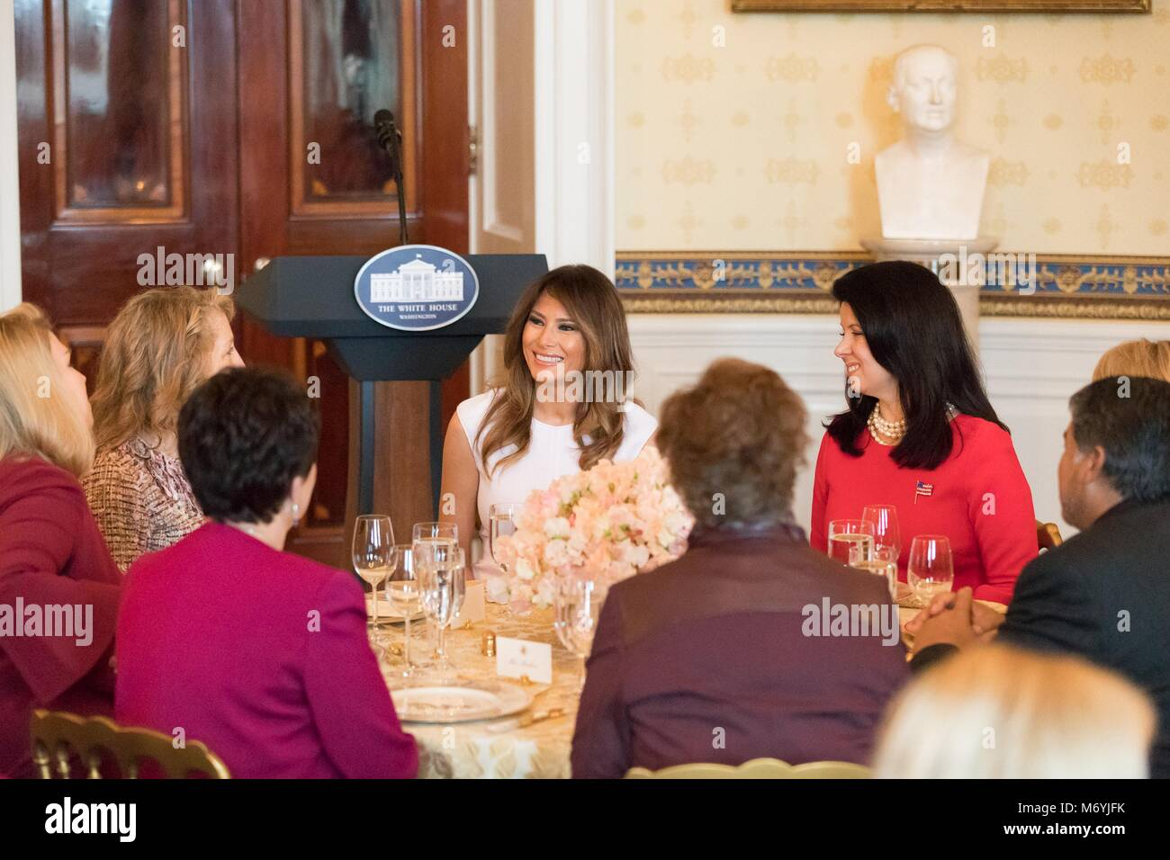 U.S First Lady Melania Trump, center, hosts a luncheon for spouses of Governors at the White House February 26, Stock Photo