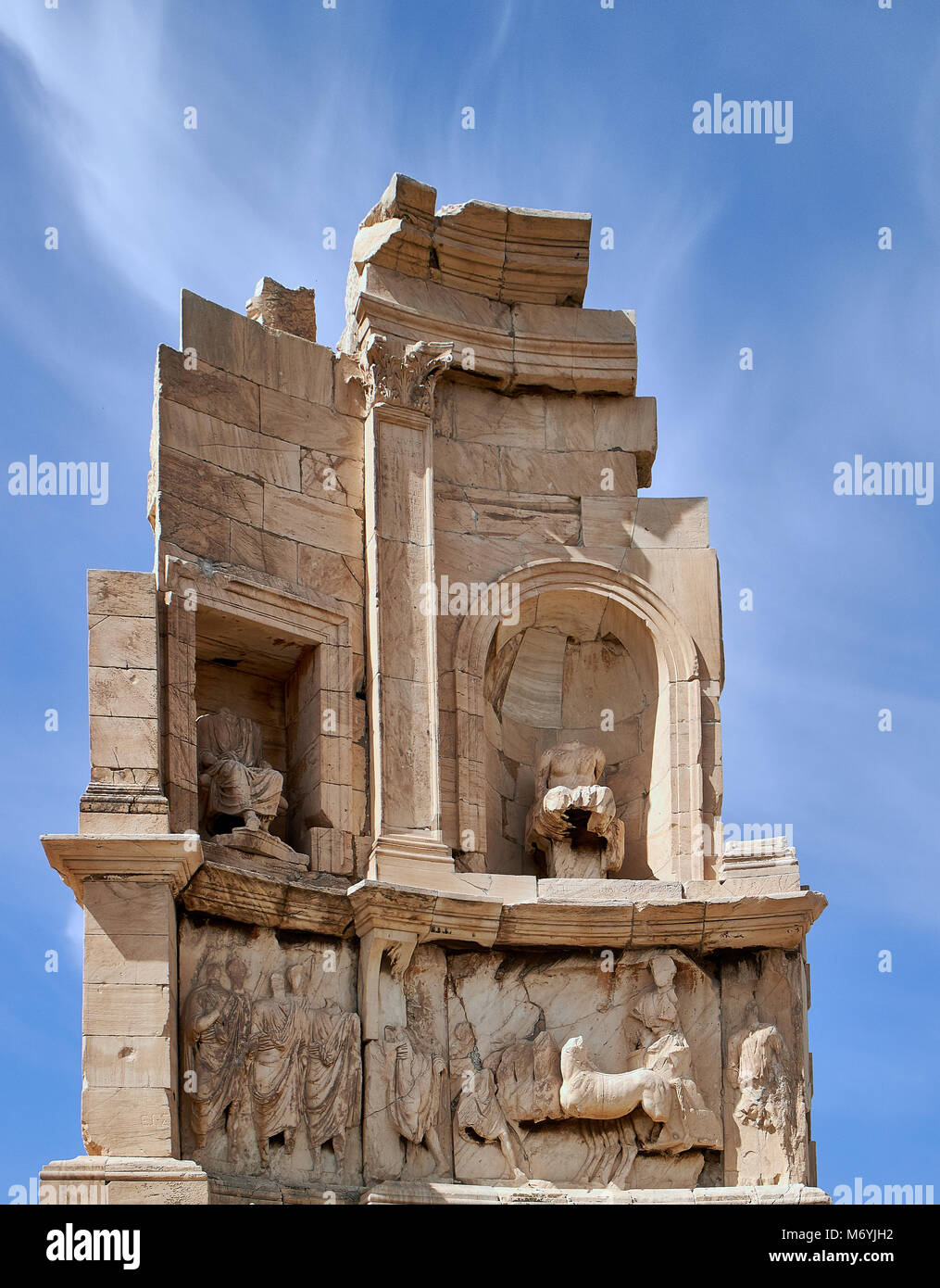 Europe,  Philopappos monument on the Hill of the Muses, Athens, Greece. Greek and Roman civilisation, 2nd century. - Stock Image