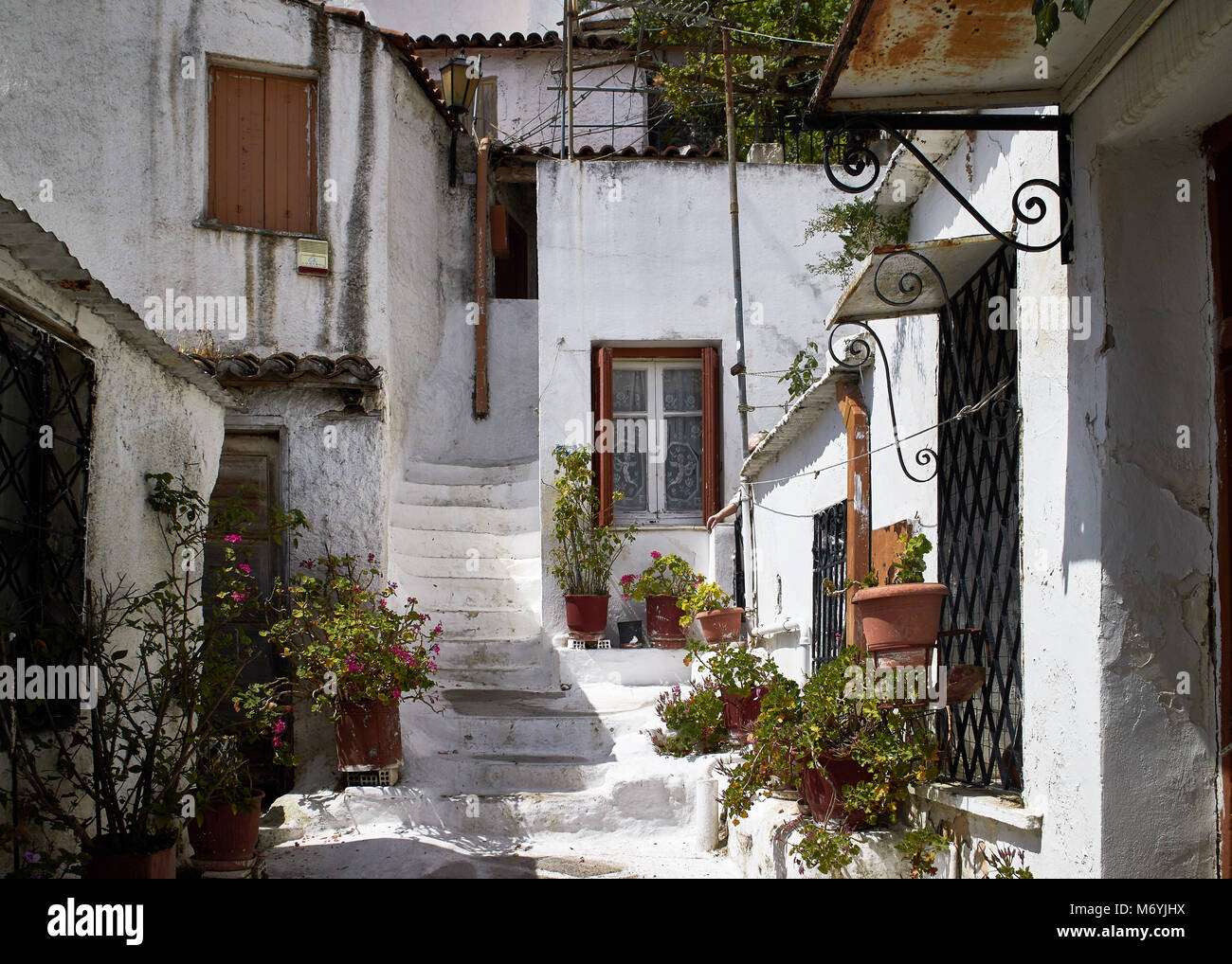 Europe, Greece, Attica Athens,Anafiotika Plaka  , The part of old town of Athens called Anafiotika is built right - Stock Image