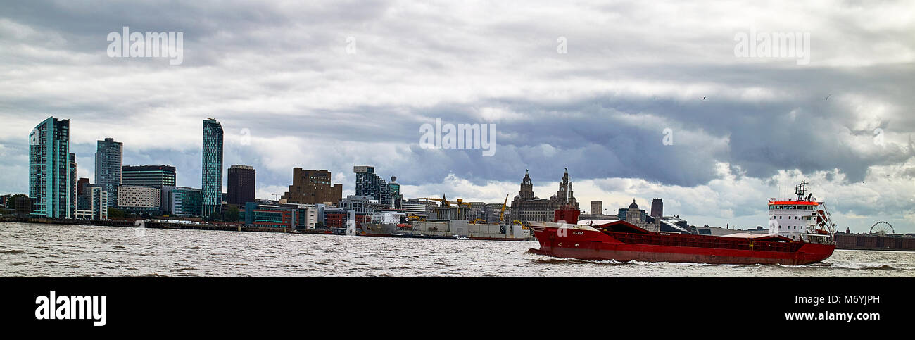 Wide angle panoramic view of Liverpool from across the River Mersey. Liverpool, England, UK - Stock Image