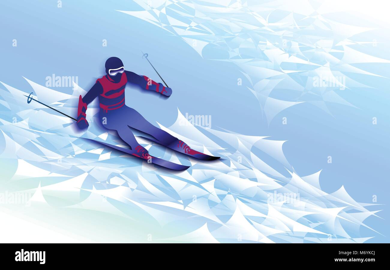 Winter sport. Man skiing, jumping.  Blue silhouette of the skier - Stock Vector