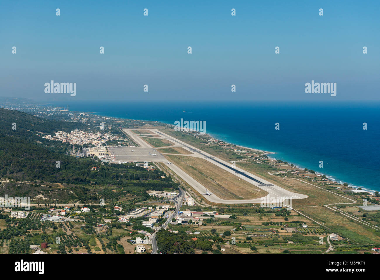 Aerial view on the Rhodes International Airport Stock Photo