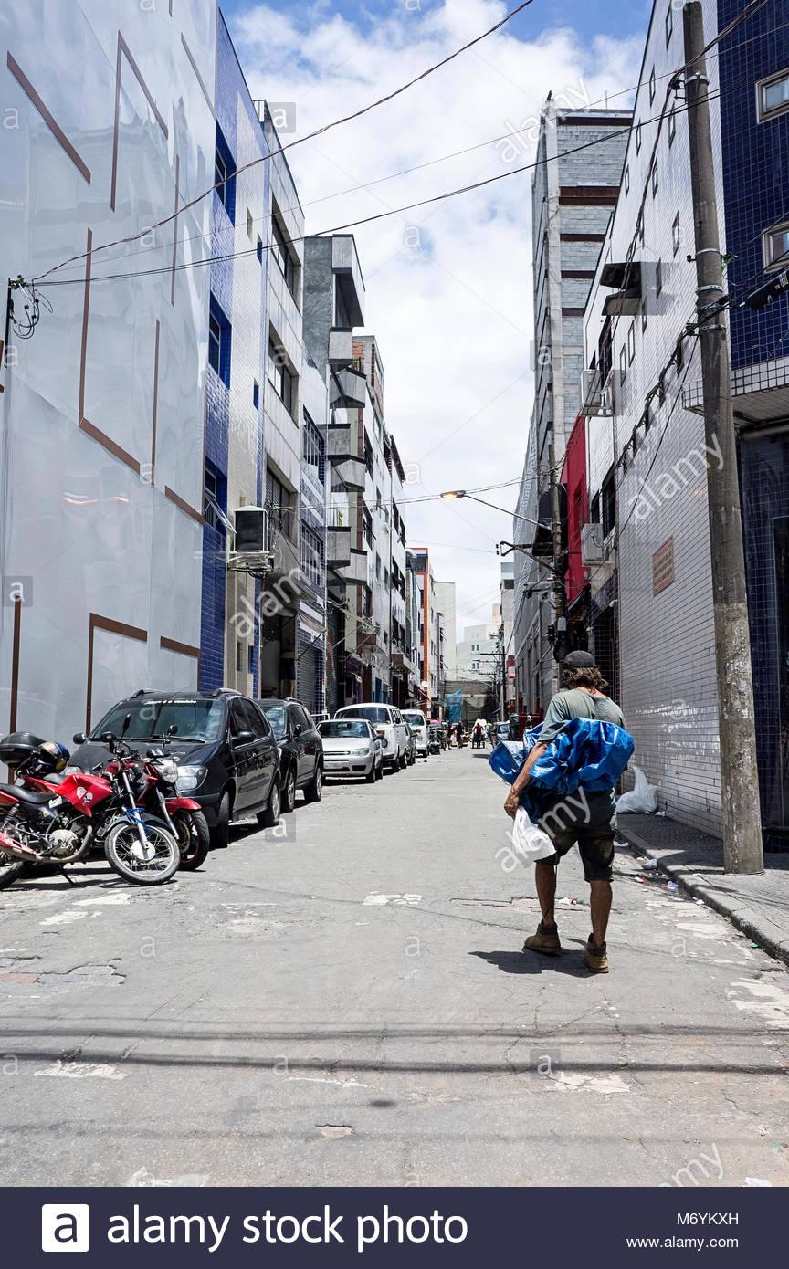 beggar drifter cental sao paulo - Stock Image