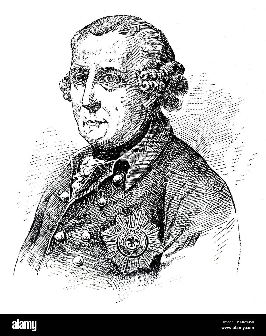 Frederick William II of Prussia (1744-1797). Portrait. Engraving, 19th century. Stock Photo