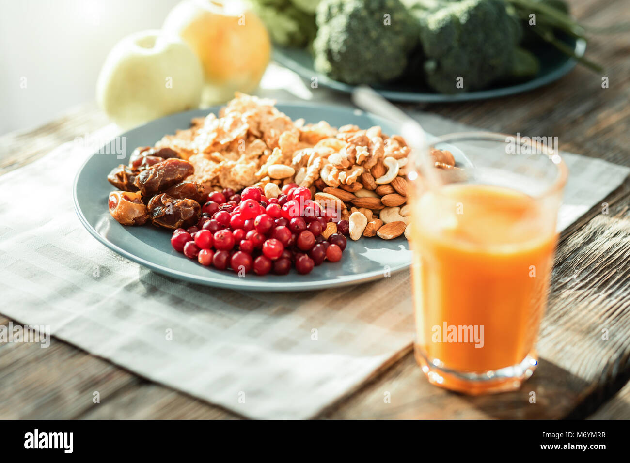 Different products lying in the plate. - Stock Image