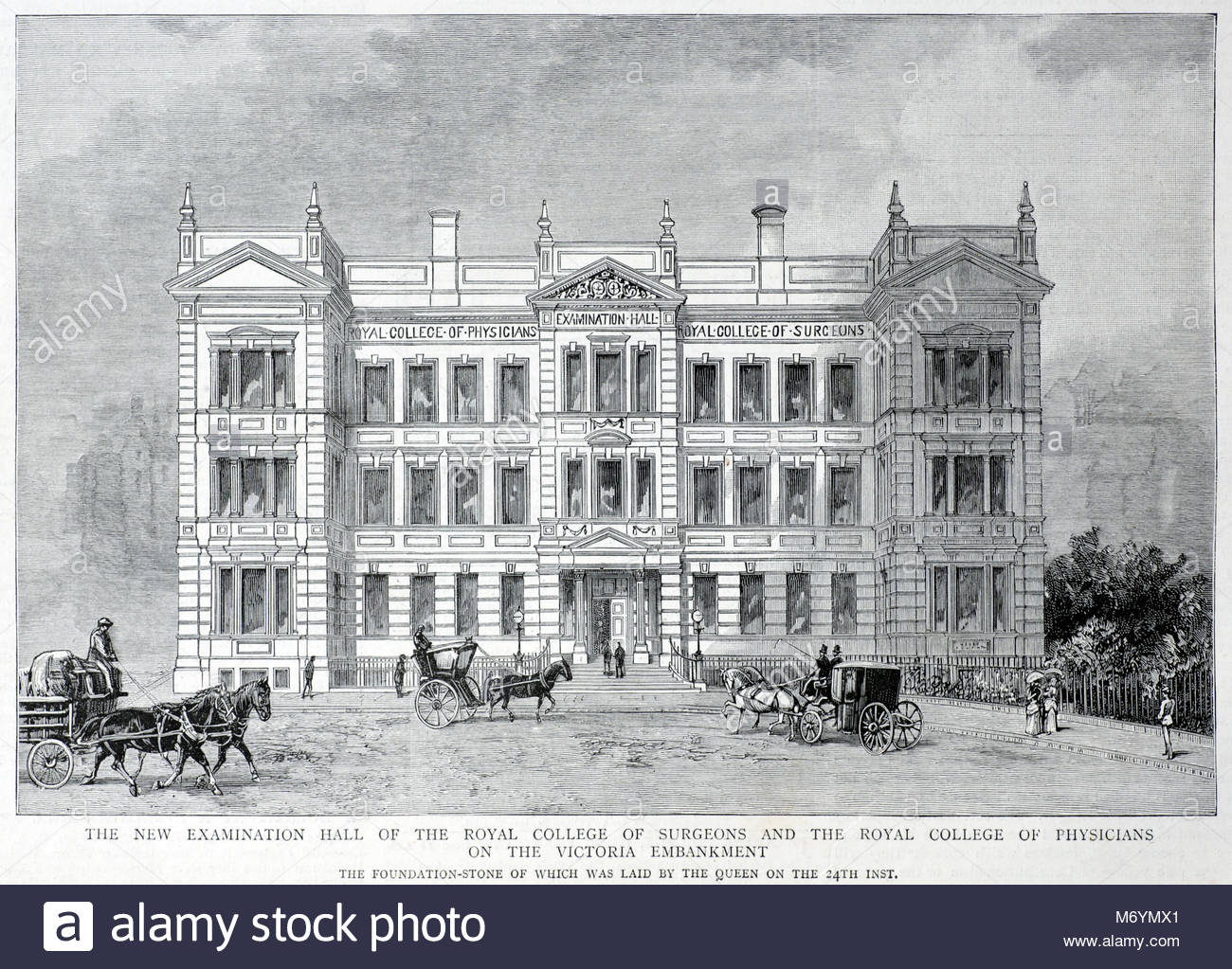 The new Examination Hall of the Royal College of Surgeons and the Royal College of Physicians on the Victoria Embankment - Stock Image