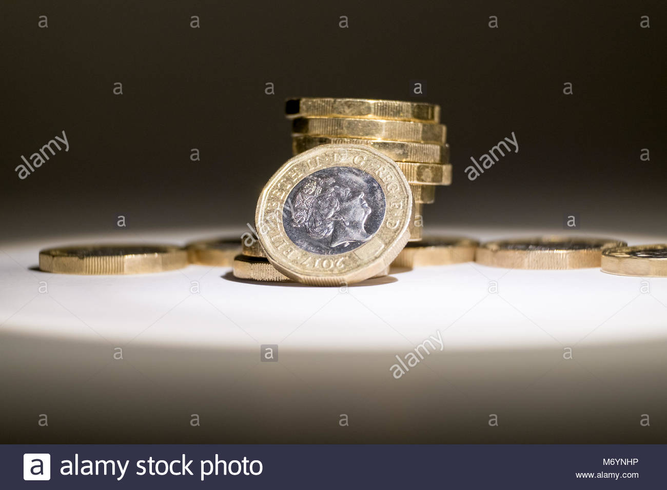 British currency. New version of £1 coin. UK. - Stock Image