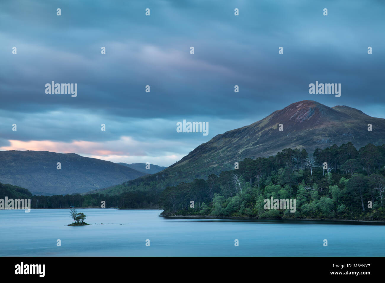Dawn breaking over Loch Clair, Wester Ross, Scotland, UK - Stock Image